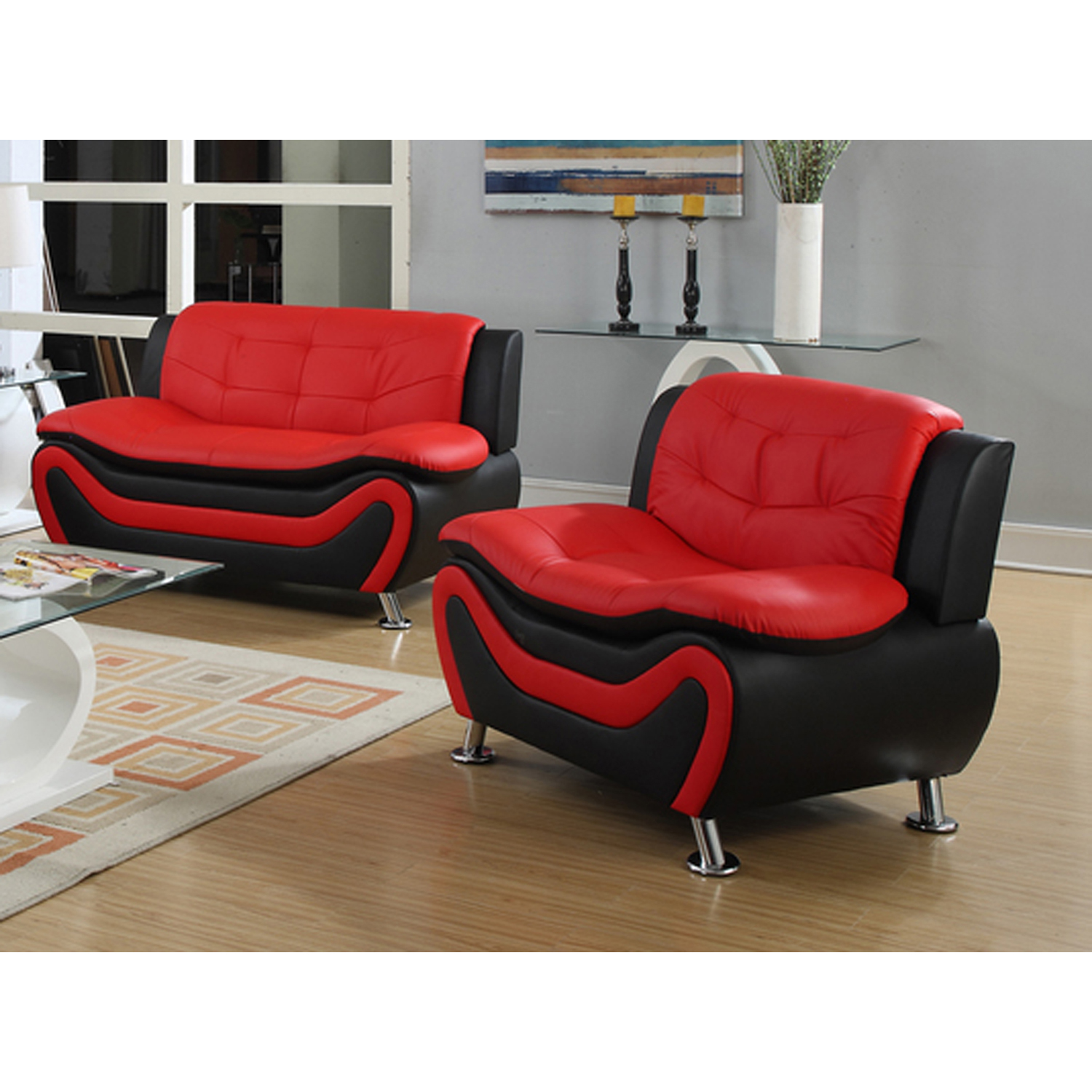 Frady Black and Red Faux Leather Modern Living Room Loveseat and Chair Set