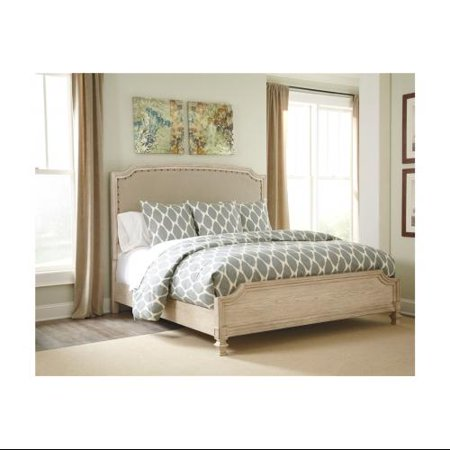 Ashley B693747796 Demarlos Collection Queen Size Upholstered Panel Bed With Arched Top Nail Head