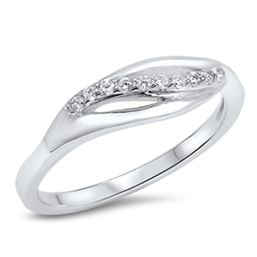 Women's Open Journey White CZ Wedding Ring ( Sizes 5 6 7 8 9 10 ) .925 Sterling Silver Band Rings by Sac Silver (Size 6)