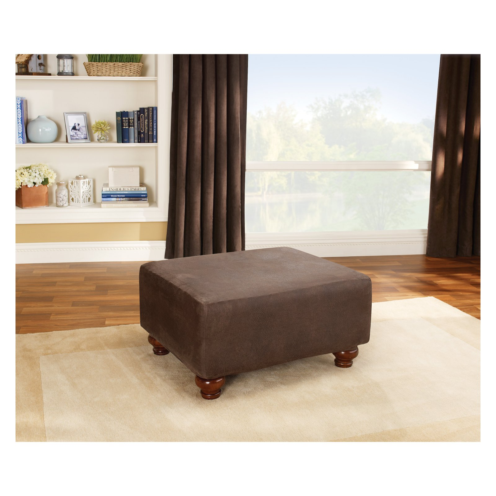 Sure Fit Stretch Leather Ottoman Slipcover, Brown