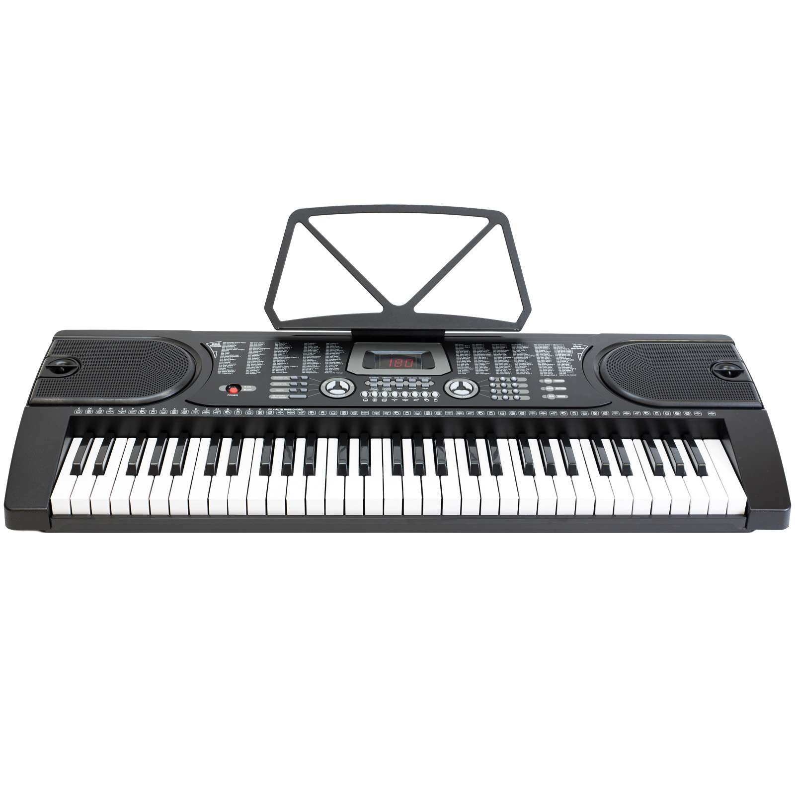 61-Key Electronic Piano Keyboard with 7-Position Adjustable Stand & Microphone– Black