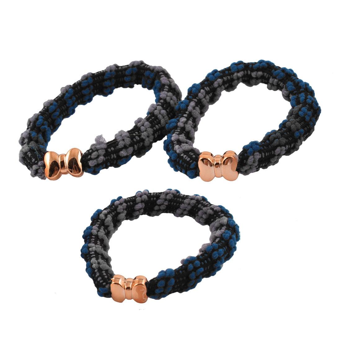 Unique Bargains Ladies Blue Black Gray Stretch Bands Hair Ties Ponytail Holders 3 Pcs - image 1 de 1