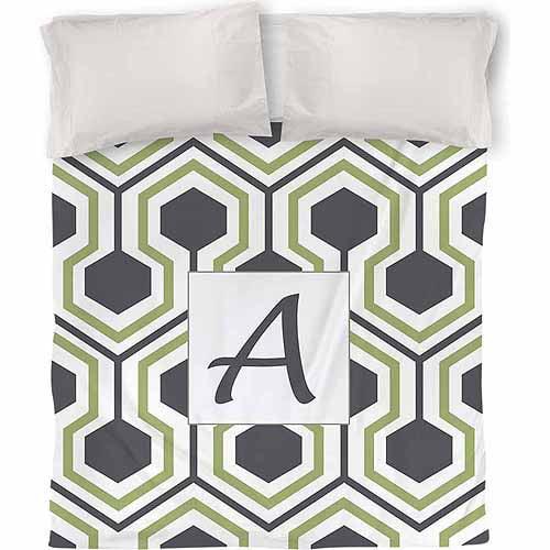 IDG Honeycomb Monogram Duvet Cover, Grey