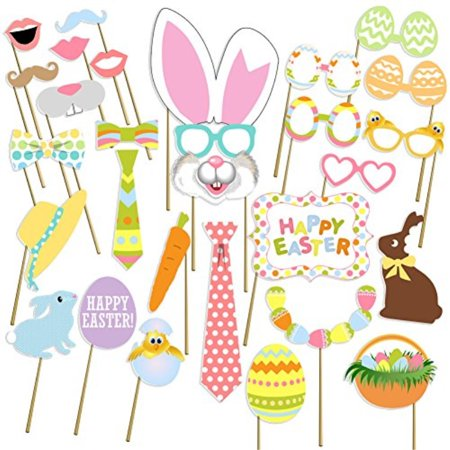Photo Prop Sticks (easter photo props, birthday photo booth props, no diy required, attached to the sticks, by usa sales)