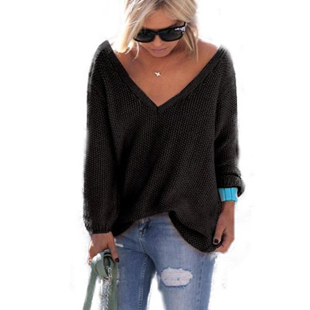 V-neck Sweater Jumper (Women's V Neck Long Sleeve Knitted Sweater Loose Pullover Jumper Tops Knitwear)