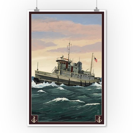 Tugboat & Sunset - Lantern Press Artwork (9x12 Art Print, Wall Decor Travel Poster) (Tugboat Print Shop)