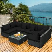 Gymax 7PCS Rattan Patio Conversation Set Sectional Furniture Set w/ Black Cushion
