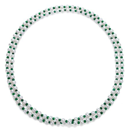 White Freshwater Pearl and Green Emeralds 50-inch Endless Necklace (7-7.5 (May Bell Banjo Green Mother Of Pearl)