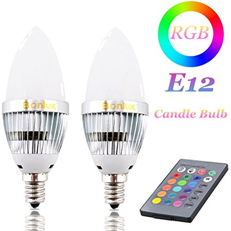 Bonlux 3W RGB E12 Candelabra LED Bulb 16 Colors 4 Modes Choice, Remote Control Color Changing Candle Light Bulb for Home Decoration Bar Party KTV Mood Ambiance Lighting, 2-Pack