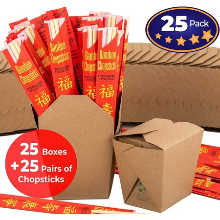Brown 16 oz Chinese Take Out Box and Premium Bamboo Disposable, Sleeved and Separated Chopstick Set. 25 of Each by Avant Grub. Stackable, Recyclable Leak and Grease Resistant to Go - Chinese Take Out Boxes
