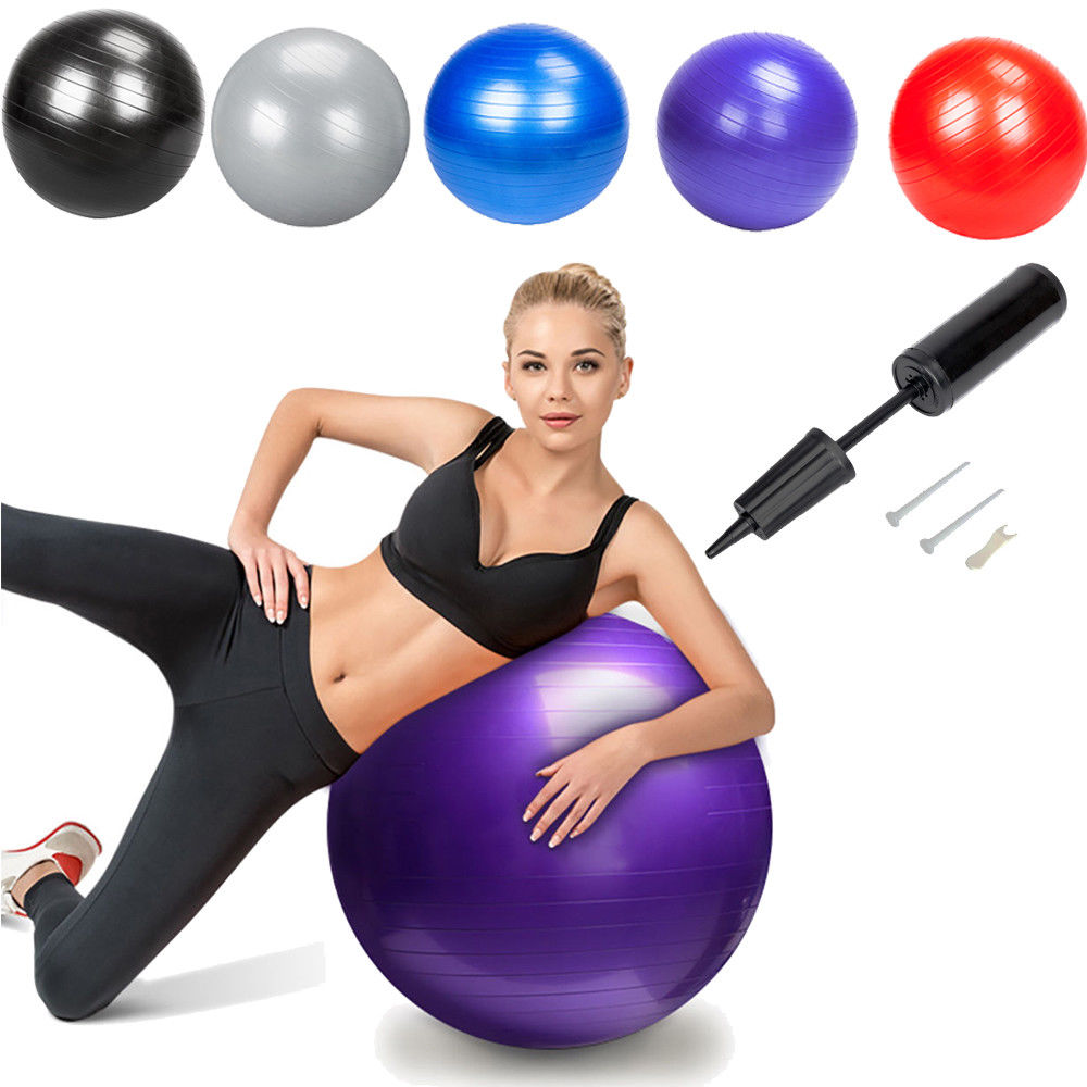 Zimtown 85cm 33Inch Yoga Ball with Air Pump, Exercise Fitness Pilates Balance Stability Gymnastic Strength Training,  for Home Gym Use