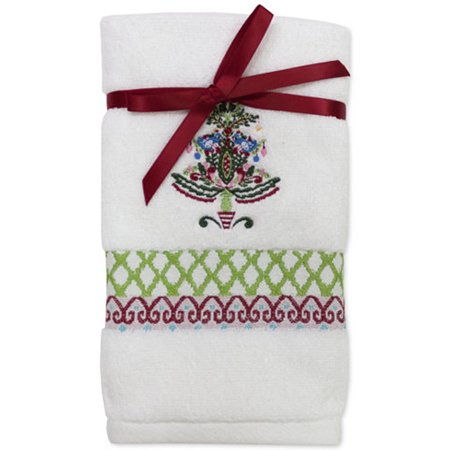 Dena Peppermint Twist Embroidered Finger Tip Towel MULTI 2 PCS One (Twisted Peppermint Shimmer)