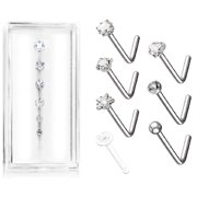 Body Accentz L Bend 316L Surgical Steel Nose L Bend Stud Rings  Free retainer included  7PC