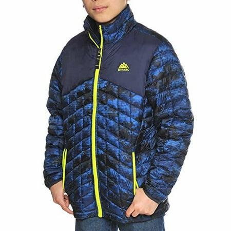 Snozu Boys' Glacier Shield Quilted Jacket (L, Blue)