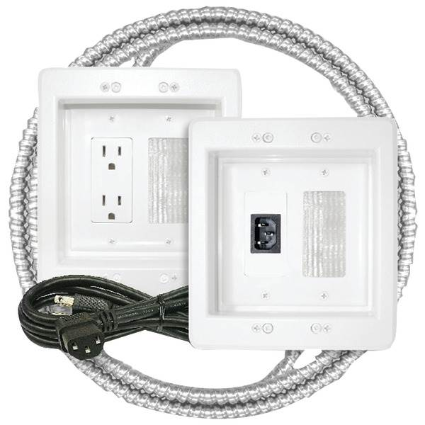 MIDLITE 22APJW-7R-MC Power Jumper HDTV Power Relocation Kit (Includes Pre-Wired Metal Clad Cable)