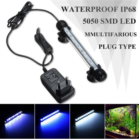 - 38cm 21LED 5050 SMD Waterproof Aquarium Fish Tank Bar Lamp Submersible Light White/Blue/Blue & White With Suction Pads US Plug 110V-240V