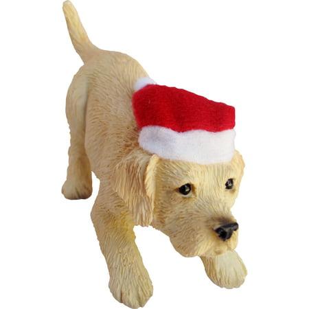 Labrador Retriever Christmas Tree (Sandicast Crouching Yellow Labrador Retriever with Santa's Hat Christmas)