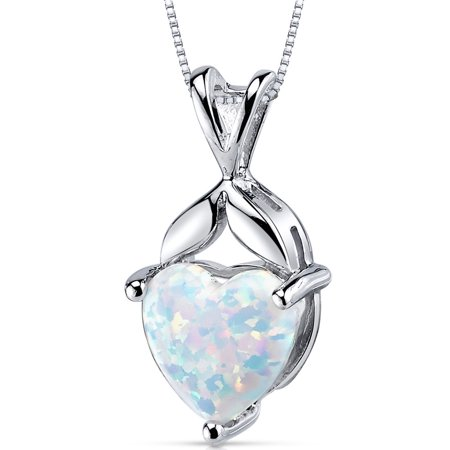 2.50 Carat T.G.W. Heart Shape Created Opal Rhodium over Sterling Silver Pendant, 18