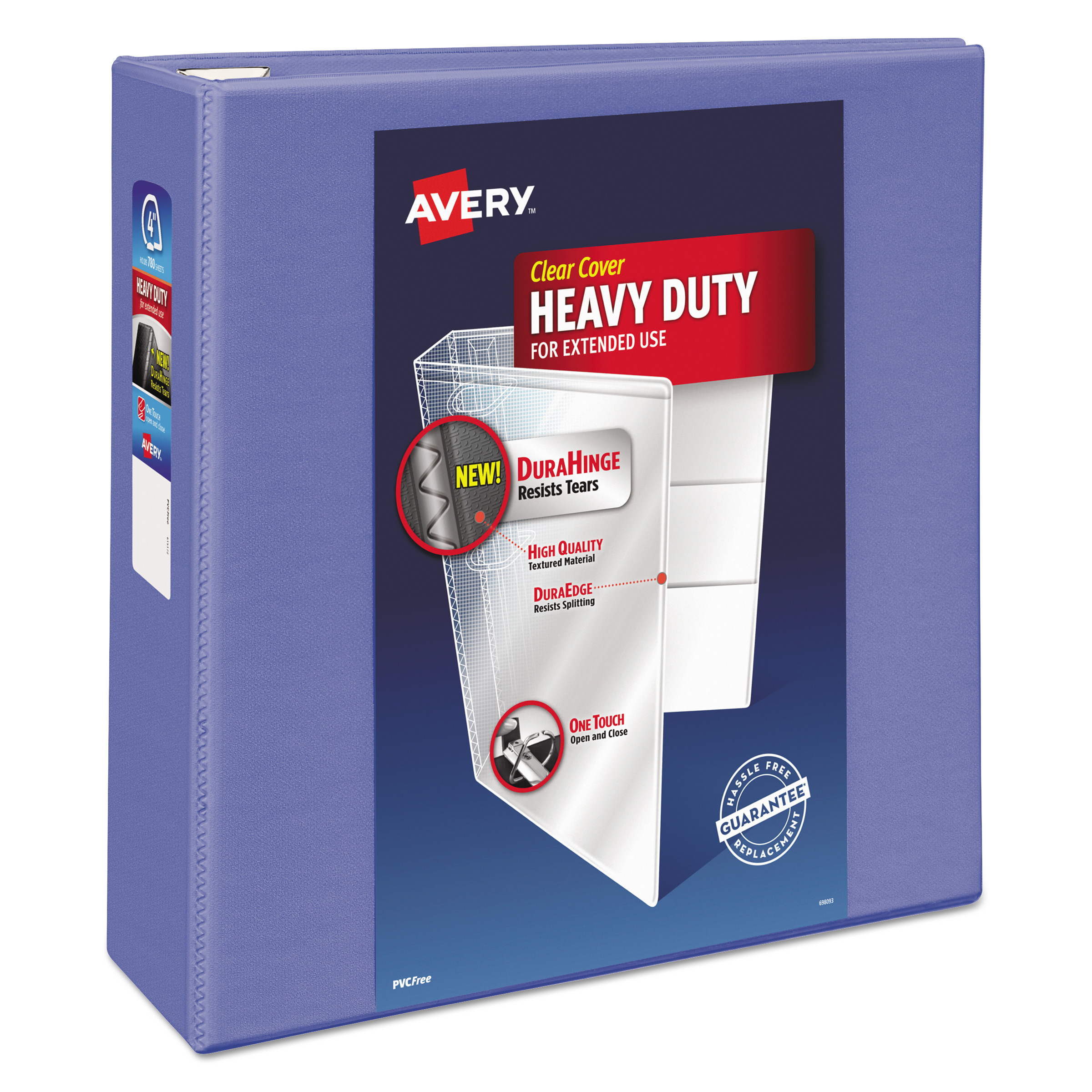 "Avery Heavy-Duty View Binder w/Locking 1-Touch EZD Rings, 4"" Cap, Periwinkle"