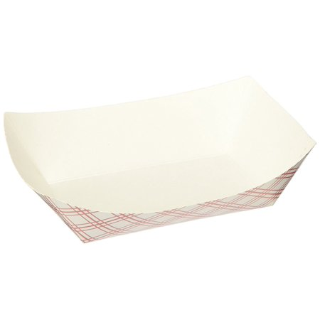 Green Point Paper Food Tray 50/ct. 1 lb., Red/White, White paper trays are perfect for serving nachos, burgers, or other small food items By - Nacho Boats