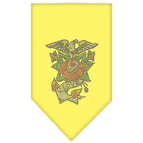 Eagle Rose Rhinestone Bandana Yellow Small