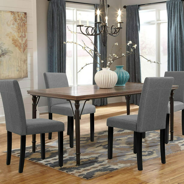Walnew Set of 4 Modern Upholstered Dining Chairs with Wood Legs (Gray)