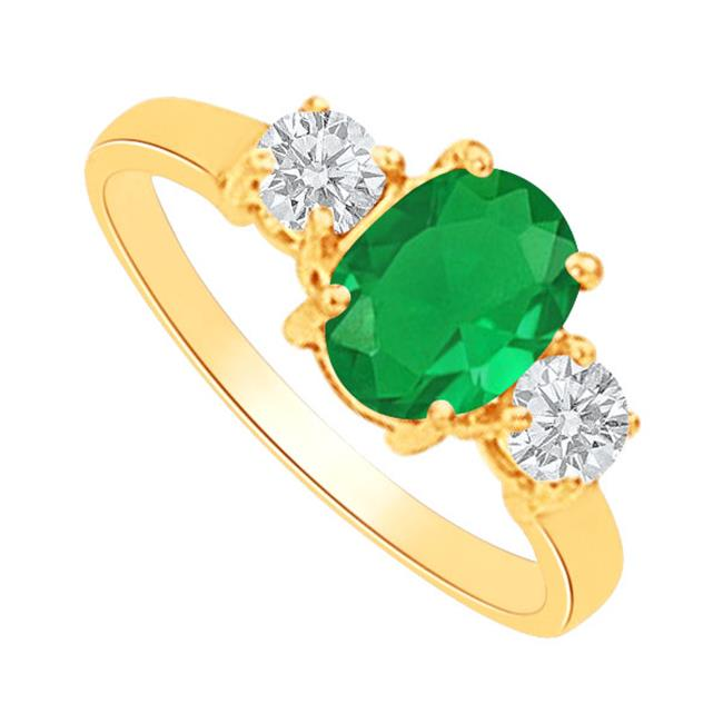 Fine Jewelry Vault UBUNR82148AGVY9X7CZE Oval Emerald & CZs Three Stone Ring in 18K Gold Vermeil, 9 Stones