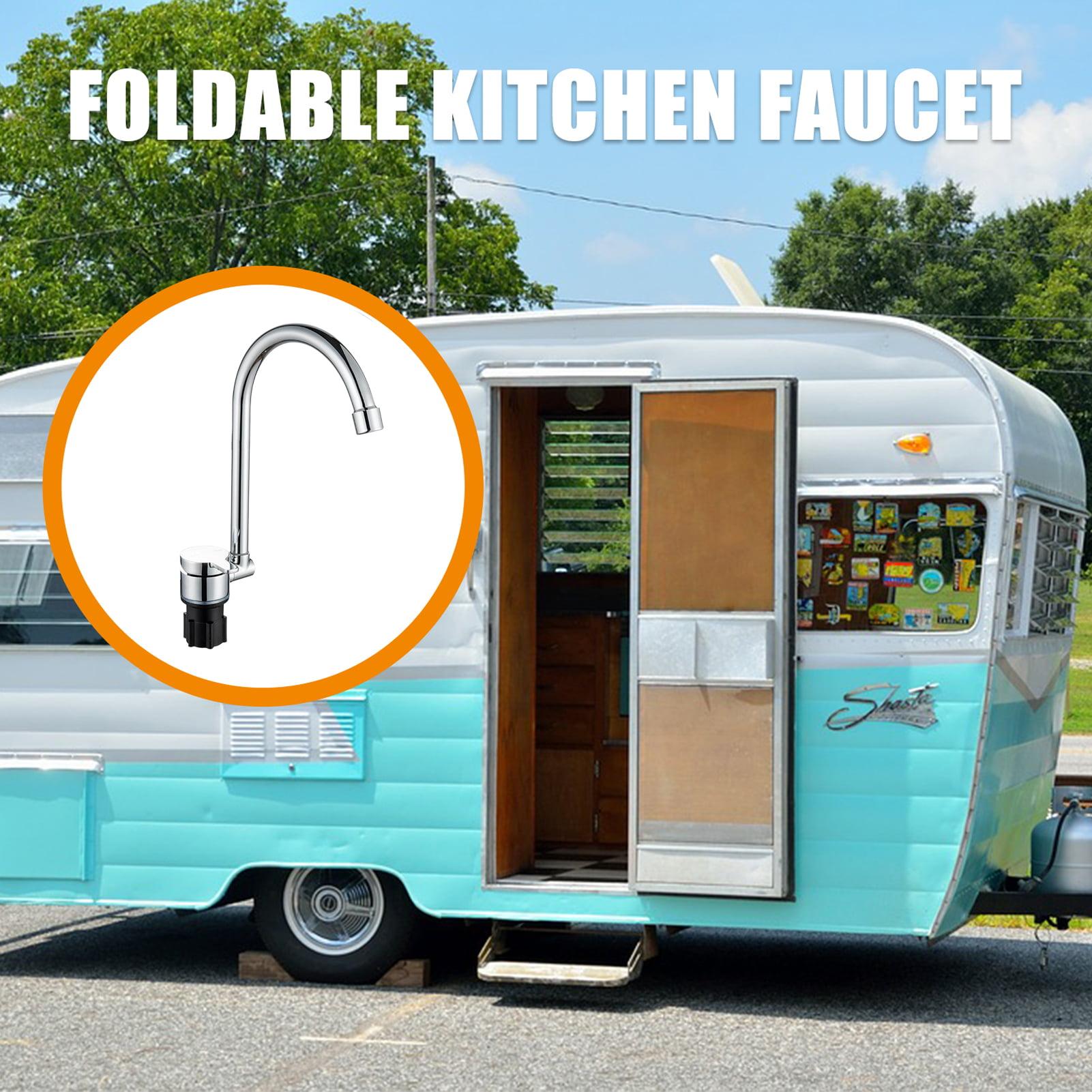 Foldable 360°Rotation RV Caravan Boat Mobile Home Kitchen Faucet Tap copper+hose