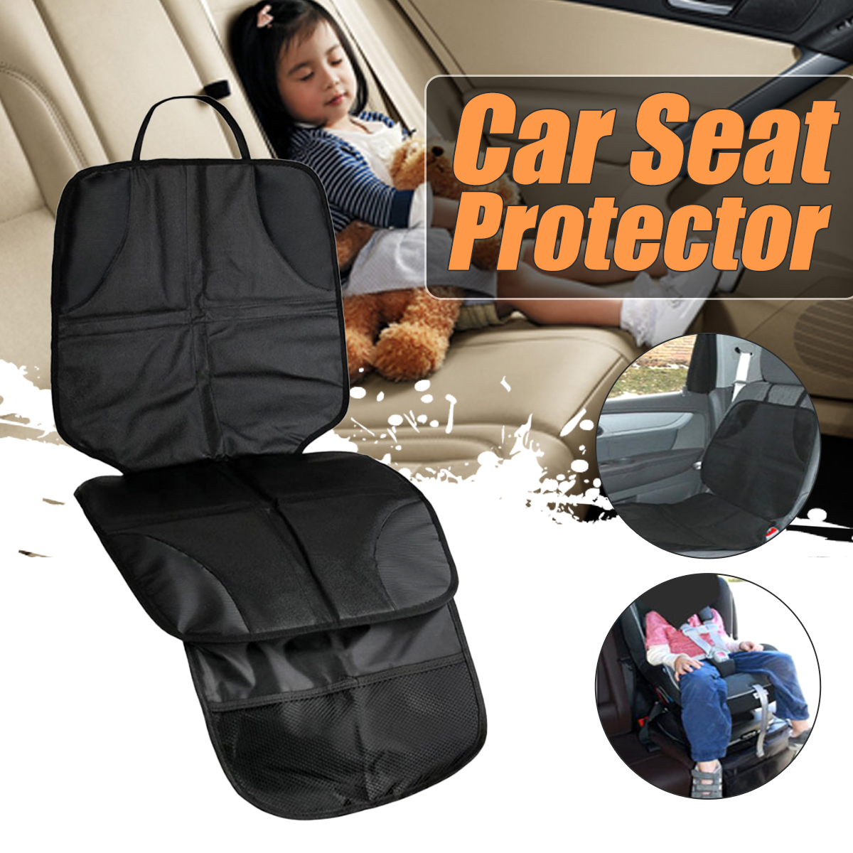 Infant Baby Car Seat Protector Saver Anti Slip Easy Clean Safety Mat Cover Black