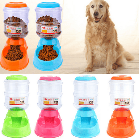 3500ml Large Pet Automatic Drink Water Dispenser Dog Cat Rabbit Large Food Dish Bowl Feeder &Dog Cat Cool Mat Self Cooling Gel Pad Dog Bed Mattress