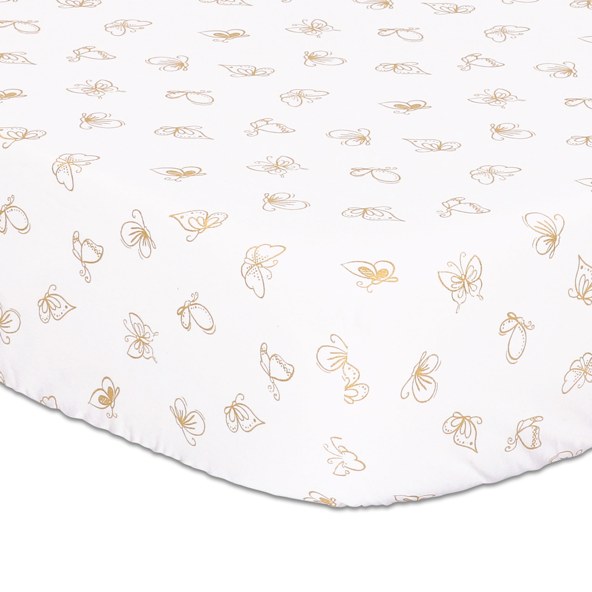 Gold Butterfly Fitted Crib Sheet by The Peanut Shell