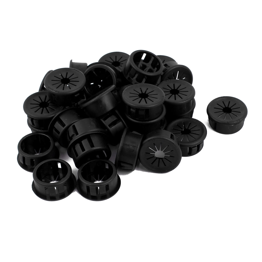 Cable Snap Locking Bushing Protector Harness Grommet Black 32 Pcs