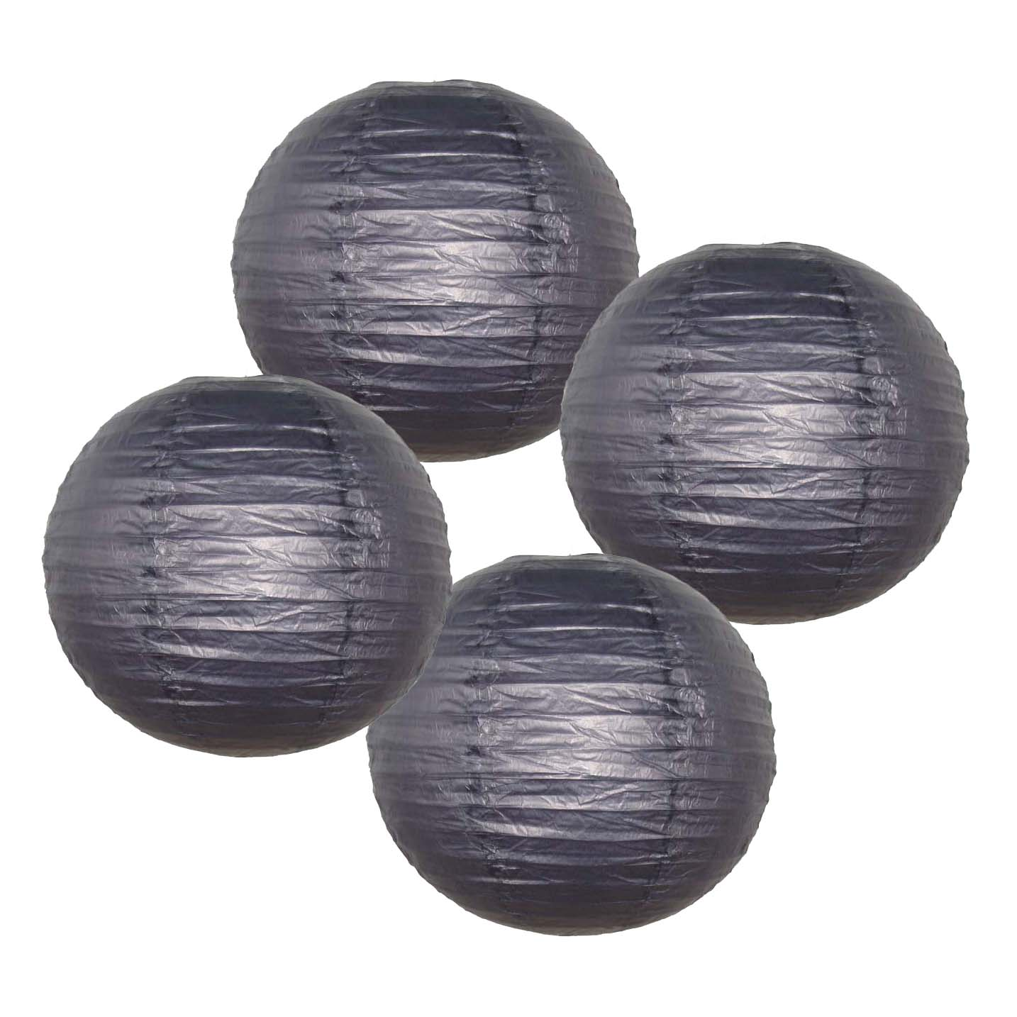 "Just Artifacts 8"" Black Paper Lanterns (Set of 4) - Decorative Round Chinese/Japanese Paper Lanterns for Birthday Parties, Weddings, Baby Showers, and Life Celebrations!"