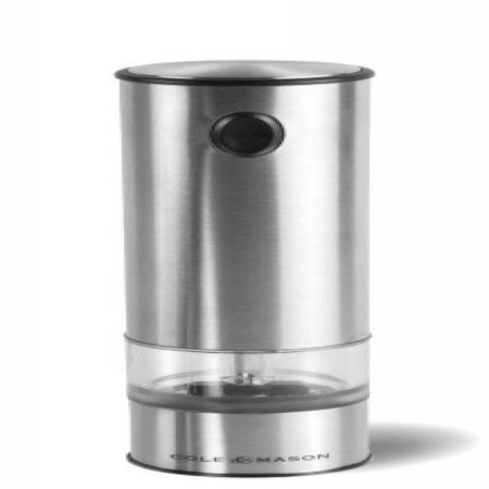 COLE & MASON Battersea Electric Salt and Pepper Grinder with LED Light - Electronic, Battery Operated Mill, Stainless
