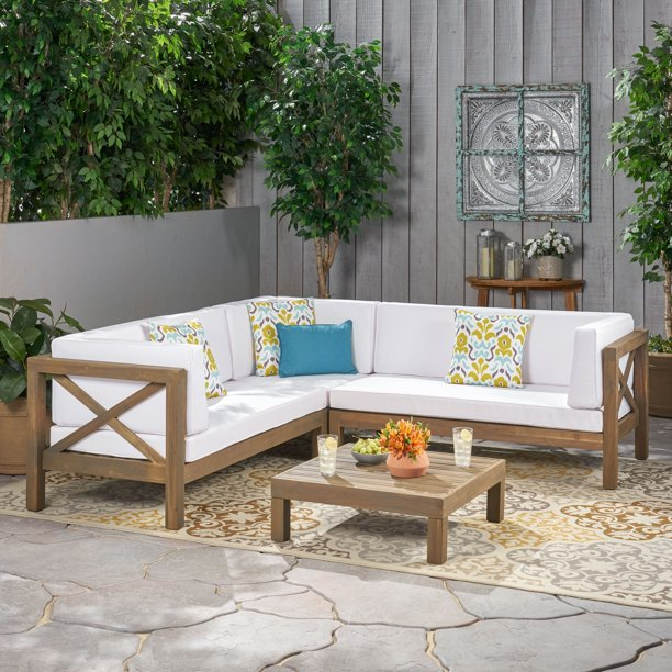 Beau 4 Piece Outdoor X-Back Wooden Sectional Set with Cushions, Gray, White