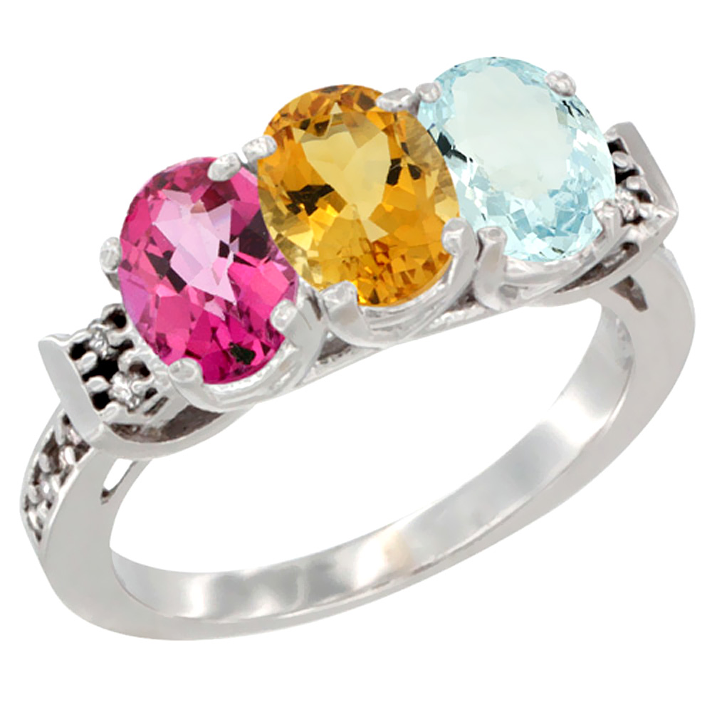 14K White Gold Natural Pink Topaz, Citrine & Aquamarine Ring 3-Stone 7x5 mm Oval Diamond Accent, sizes 5 10 by WorldJewels