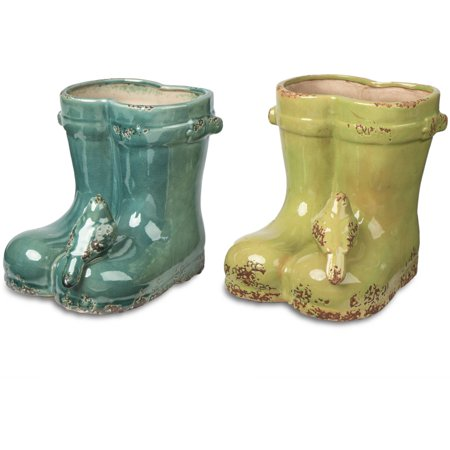 7 5 H Glazed Ceramic Boots Planter With Bird Accent Walmart Com