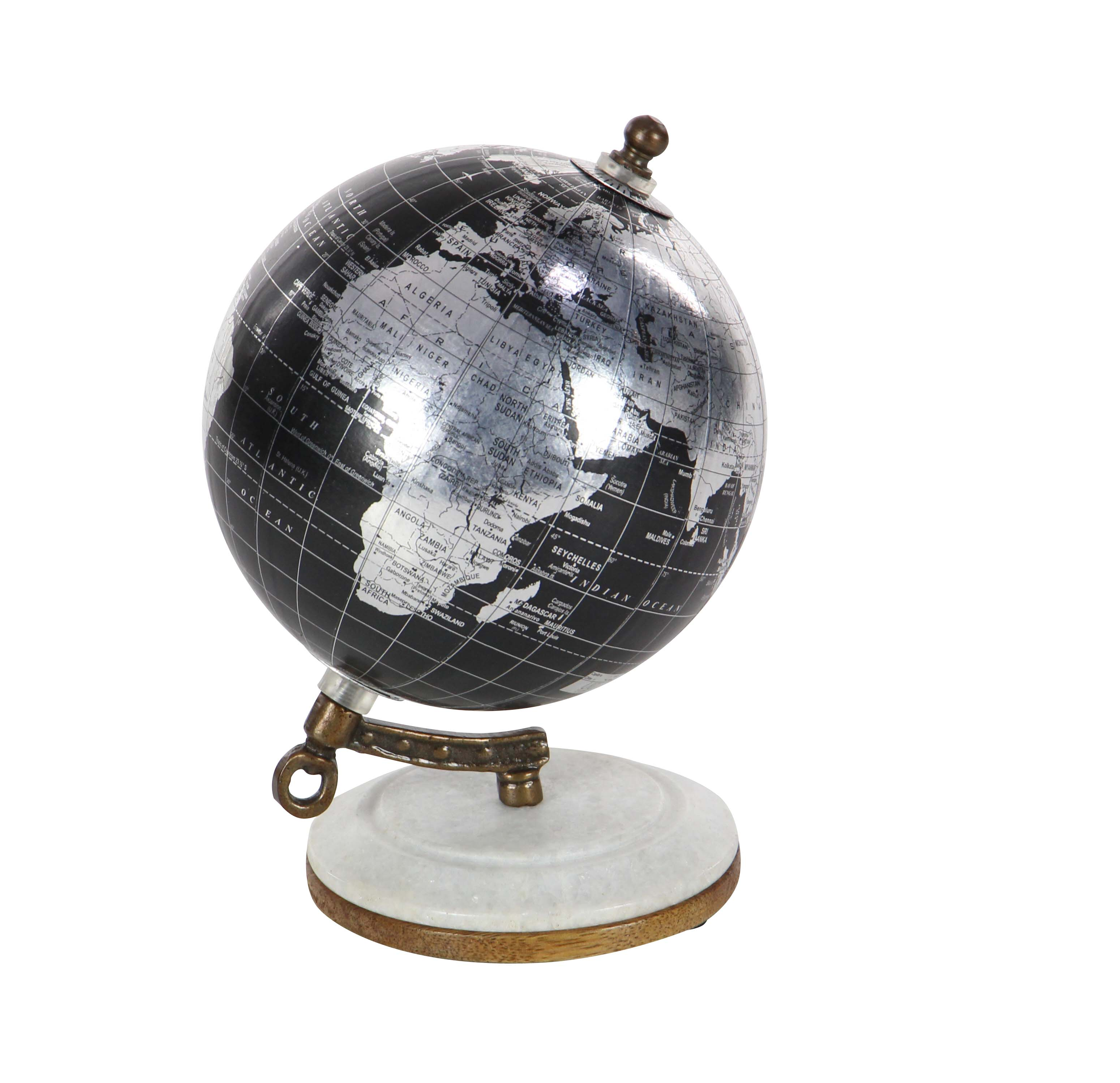 Decmode Modern 7 inch black marble and resin globe, Black, Silver