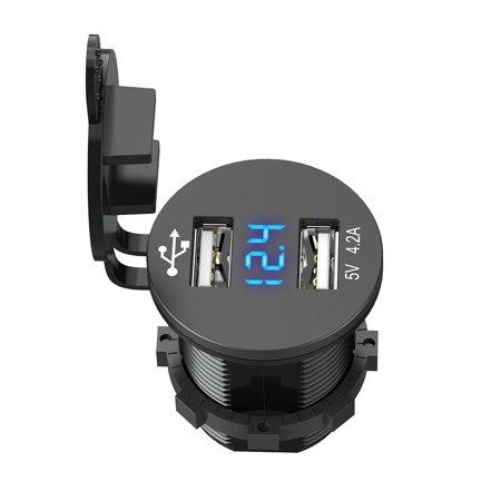 Cigarette Lighter Socket Splitter 12V Dual USB 2.1A Charger Power Adapter Outlet for Car Boat Marine Motorcycle Scooter