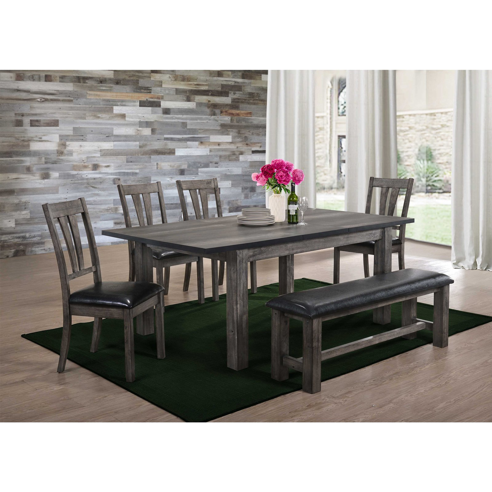 Picket House Furnishings Grayson 6 Piece Extension Dining Table Set with Upholstered Bench