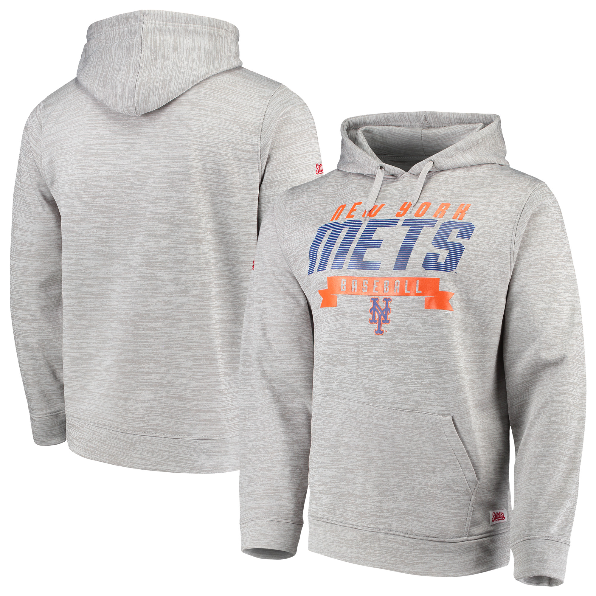 New York Mets Stitches Poly Pullover Hoodie - Heathered Gray