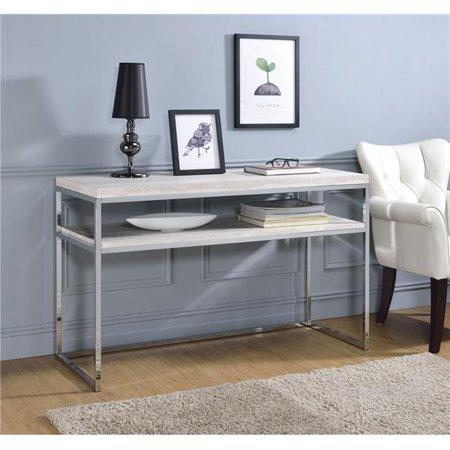 Benzara BM191251 Rectangular Wooden Sofa Table with Open Shelf & Metal Sled Base - White & Silver - 48 x 18 x 30 in.