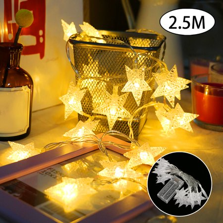 2.5M LED String Star Fairy Lights Battery Operated Waterproof Lamps for  Bedroom Wedding Christmas Decor Warm White