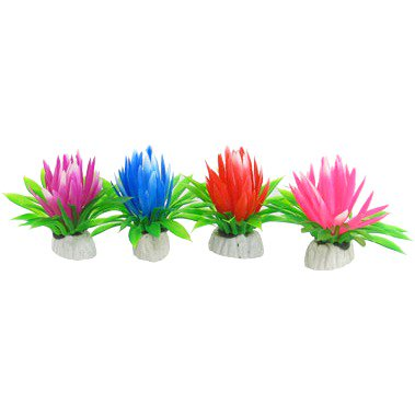 uxcell 4 Pcs Plastic Ornament Colored Petals Lotus for Underwater Decoration