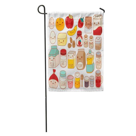 Ingredient Chute - SIDONKU Collection of Lovely Cake Ingredient Cute Egg Adorable Milk Sweet Garden Flag Decorative Flag House Banner 12x18 inch
