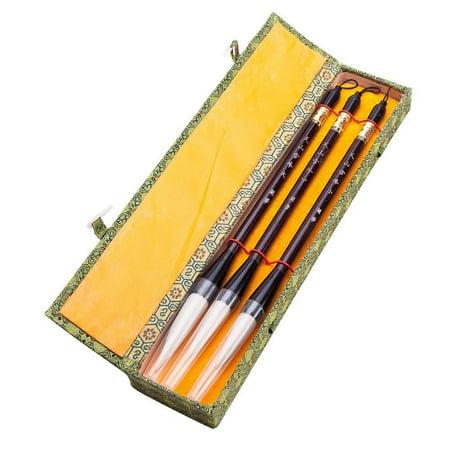 Japan Brush - Chinese Calligraphy Japanese Sumi Drawing Brush Hu Pen Yang Hao (Goat Hair) 3 Pcs Gift Set