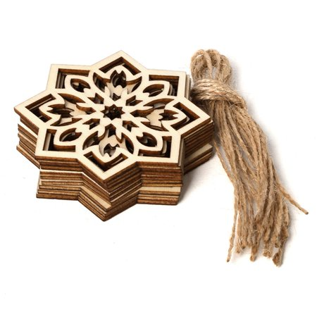 KABOER 10 Pcs Ramadan Wood Hanging Decor Craft Hollow DIY Wooden Ornament Eid Mubarak Home Decor](Ornament Craft)