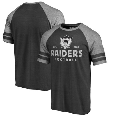 Oakland Raiders NFL Pro Line by Fanatics Branded Timeless Collection Vintage Arch Tri-Blend Raglan T-Shirt - Black