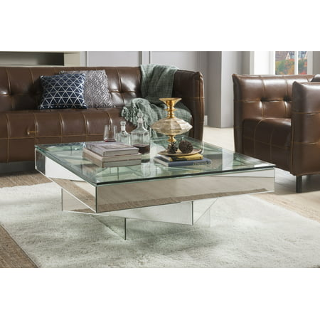 ACME Meria Square Glass Coffee Table with Mirrored Finish