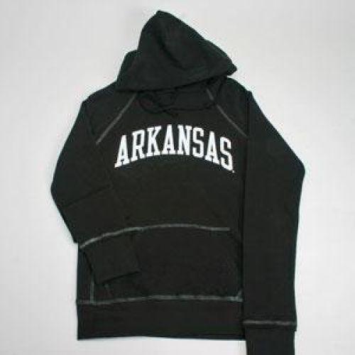 Arkansas Razorbacks Hooded Sweatshirt - Ladies Hoody By League - Black